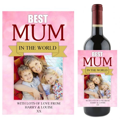 Personalised Happy Mothers Day Wine / Champagne Bottle PHOTO Label N81